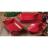 3-Piece Fluted Bakeware Set Red