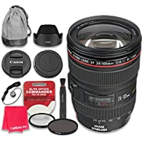 Canon EF 24–105mm f/4L IS USM Lens with Elite Optics Commander Pro HD Series Ultra-Violet Protector UV Filter & Circular Polarizer CPL Multi-Coated Filter - International Version