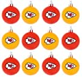 NFL Football Plastic Ball Holiday Tree Ornament Set (12 Pack) - Pick Team