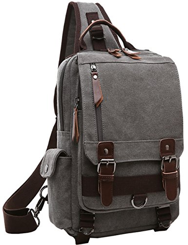 (Mygreen Sling Backpack for Men and Women One Shoulder Single Strap Backpacks Canvas Laptop Cross Body Messenger Sling Bag Pack for Travel, School, Outdoor Sport)