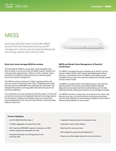 Cisco Meraki MR33 Wave 2 Access Point (3 Radios, 2.4GHz and 5GHz, Dual-Band, 802.11ac, POE, Requires Cloud License) by Meraki (Image #3)