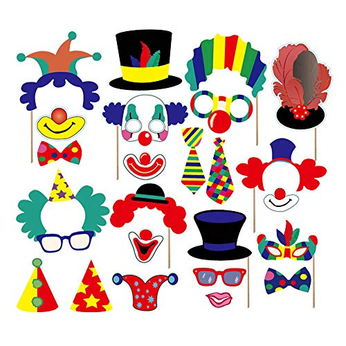 49pcs Carnival Circus Photo Booth Props - Circus Birthday Party Supplies Carnival Bachelorette Party Decorations -
