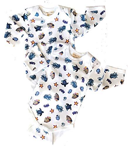 Organic Cotton Bodysuit Under The Sea 6m, 2 - Organics Sleeve Ecobaby Long