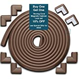 Roving Cove Edge Guards & Corner Guards set - Jumbo Coffee (brown) - Safe Edge & Corner Cushion - PRE-TAPED CORNERS; Childproofing; Baby Safety; Furniture Bumper; Baby Proofing; Table Protector
