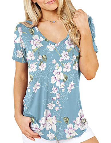 TASAMO Women's Summer Casual Sexy Short Sleeve V Neck Patch Pocket Slub Texture Tee Loose Top Tshirt (Small, 00 C-02 Flower Light Blue(No Pocket))