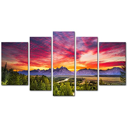 Wall Art Decor Poster Painting On Canvas Print Pictures 5 Pieces Summer Colorful Sunset Snake River Grand Teton National Park Landscape Mountain Framed Picture for Home Decoration Living Room Artwork