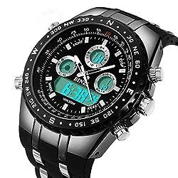 BINZI Big Face Sports Watch for Men, Waterproof Military Wrist Digital Watches in Black Silicone Band