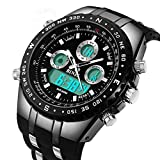 BINZI Big Face Sports Watch for Men, Waterproof Military Wrist Digital Watches in Black Silicone Band