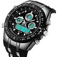 BINZI Big Face Sports Watch for Men, Waterproof Military Wrist Digital Watches in Black Silicone...