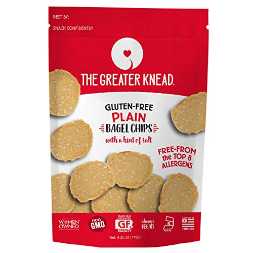 - Greater Knead Gluten Free Bagel Chips - Plain, Vegan, non-GMO, Free of Wheat, Nuts, Soy, Peanuts, Tree Nuts (1 pack)