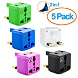 USA to UK Plug Adapter by Yubi Power 2 in 1 Universal Travel Adapter with 2 Universal Outlets - Multi Color 5 Pack - Type G for United Kingdom, England, Hong Kong, Ireland, Scotland, and more