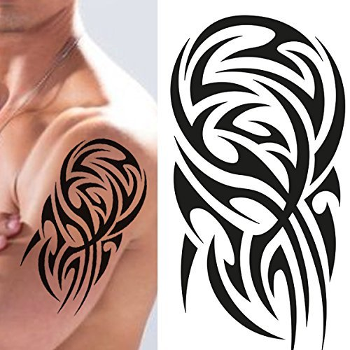 Stick on Black Temporary Tattoo Maori Tribal Body Art Sticker Transfer for arms Shoulder Aztec Polynesian Samoan Hawaiian for Adult Men and Women (Polysense Tattoo) (Best Tribal Shoulder Tattoos)