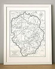 Yosemite National Park, Letterpress Map Unframed Print