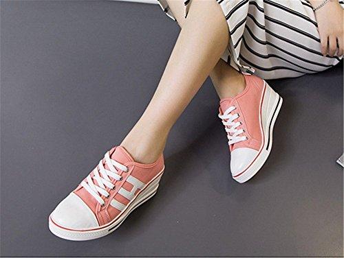 Wealsex Damen Canvas Sneakers Keilabsatz Schnürhalbschuhe Wedges Sportschuhe 2017 Frühling Sommer Segeltuchschuhe Pink