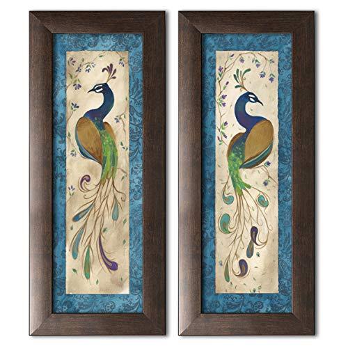 - wallsthatspeak 2 Blue Retro Peacock Pair Art Prints Green Purple Feathers Décor 6x18; Two 6x18 Brown Framed Image
