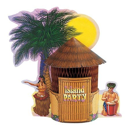 Club Pack of 12 Tropical Island Party Tiki Hut Honeycomb Party Centerpieces 12''