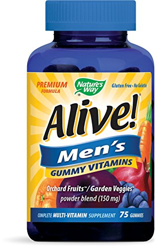 Nature's Way Alive! Mens Premium Gummy Multivitamin, Fruit and Veggie Blend (150mg per serving), Full B Vitamin Complex, Gluten Free, Made with Pectin, 75 Gummies