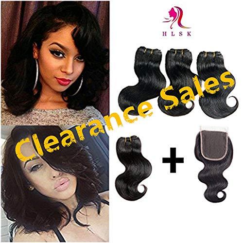Brazilian Hair Bundles With Closure 4 Pcs 8 Brazilian Virgin Hair Body Wave Human Hair Extensions With Closure 50g/Bundles(8 8 8 8 With 8}