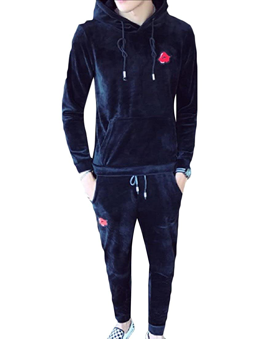 YUSKYMen Casual Half Pants Plus-Size 2-Piece Basic Sport Tracksuit Set