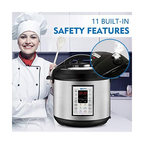 BSTY Electric Pressure Cooker with 13-in-1 Cooking Functions, Programmable 8Qt Slow Cooker with Stainless Steel Inner… 6