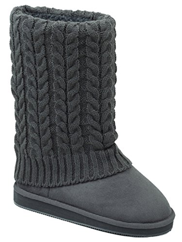 U9A1011S Womens Winter Boots Knit Sweater Faux Suede Crochet Mid Calf Fleece Lining Rib Warm Colors Shoes, Black, Grey, Tan, Brown
