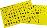 Braille and Large Print English Letters Computer Keyboard Stickers - Overlays - Labels for the Blind and Visually Impaired (Black Letters on Yellow Background)