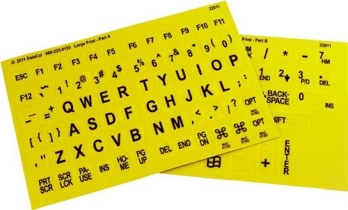 Braille and Large Print English Letters Computer Keyboard Stickers - Overlays - Labels for the Blind and Visually Impaired (Black Letters on Yellow Background) by DataCal