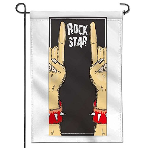 AmaPark Seasonal Garden Flag vector doodle hand sign rock n roll music on white rock n roll icon rock concert poster design Double Sided Weatherproof Flags 12