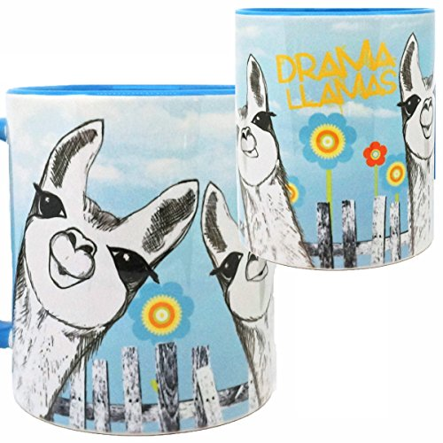 Drama Llamas Funny Mug by Pithitude - One Single 11oz. Blue Coffee Cup