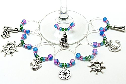 Sailing Wine Glass Charms with Blue, Green, Purple Beads (set of 8)