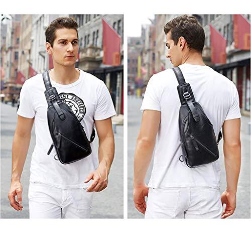 Axelväska konstläder bröstväska multifunktionell diagonal Cross Outdoor en axel slinga midja övning springa mobil-knapp ridning fitness 3 färg 320 x 165 x 75 mm MUMUJIN (färg: -