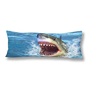 InterestPrint Great White Shark Jumping Out of Water with Its Open Mouth Body Pillow Covers Case Pillowcase with Zipper 21x60 Twin Sides for Home Bedding Couch Decorative
