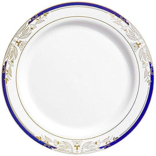 Elegant Disposable Plastic Dinner Plate Set - Heavy Duty Round White with Blue & Gold Reusable Dinner Plates For Wedding, Christmas, Thanksgiving, Birthday & Other Occasions - 120 Plastic Party Plates