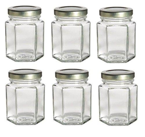 Nakpunar 6 pcs, 3.75 oz Mini Hexagon Glass Jars for Jam, Honey, Wedding Favors, Shower Favors, Baby Foods, DIY Magnetic Spice Jars