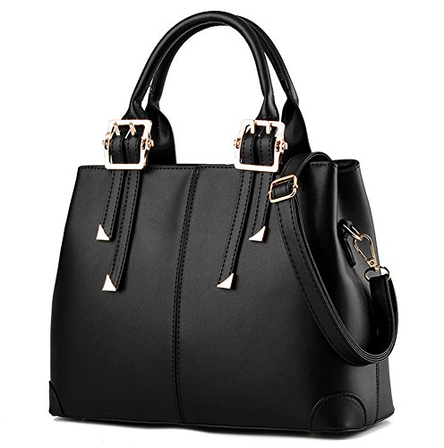 Suyi Womens Vintage PU leather Tote Satchel Handbag Shoulder Bag Cross Body Bags Black