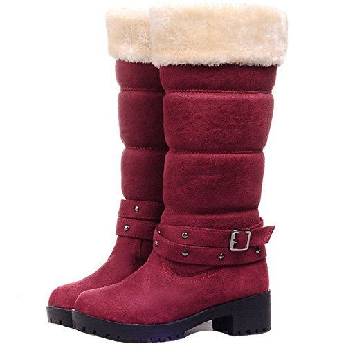 Red COOLCEPT Fashion Block Wine Snow Tall Women Winter Boots Warm Mid Heel Shoes WAqT7SFnRW