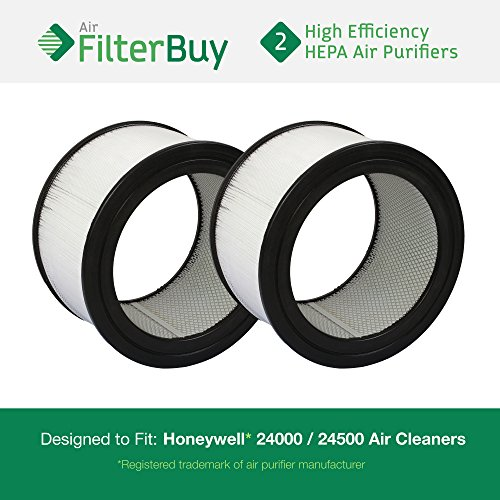 2 - Honeywell 24000 / 24500 Air Cleaner Replacement HEPA Filters. Designed by FilterBuy in the USA.