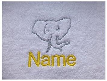 Toalla de baño con un elefante africano Logo y tira de nombre de cada tu elección