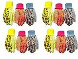 G & F 1852-3 Women Soft Jersey Garden Gloves, Women Work Gloves, 3-Pairs Green/Pink/Blue per Pack (4-(Pack))