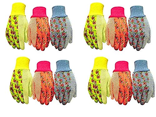 G & F 1852-3 Women Soft Jersey Garden Gloves, Women Work Gloves, 3-Pairs Green/Pink/Blue per Pack (4-(Pack))