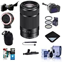 Sony 55-210mm f/4.5-6.3 OSS E-Mount NEX Camera Lens, Black - Bundle With Flex Lens Shade, DSLR Follow Focus & Rack Focus, Peak Lens Changing Kit Adapter 49mm Filter Kit, Software Package, And More