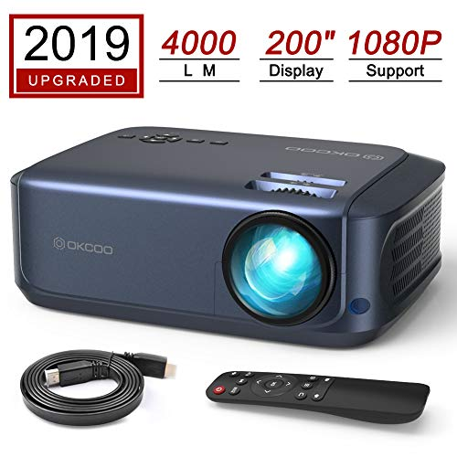 OKCOO Video Projector 1080P 4500lm Led Home Theater Movie Projectors, Office Business Overhead Projector for PPT Presentation, Compatible with PC Laptop TV Stick PS4 HDMI VGA TF USB AV, Blue