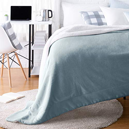 AmazonBasics Ultra-Soft Micromink Sherpa College Dorm Blanket - Throw, Tide Pool Blue