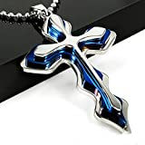 Letshopping® Fashion High Quality Stainless Steel Cross Pendant Men's Necklace Chain (#1blue)