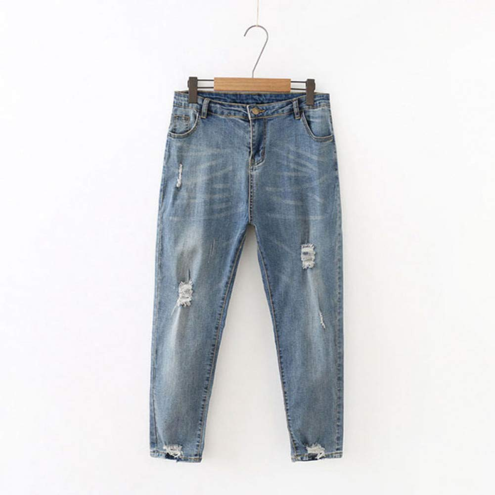 Denim bluee FSDFASS Jeans Winter Vintage Jeans Women Plus Size 4XL Scratched Mom Pants Loose AnkleLength Ripped Denim Trousers