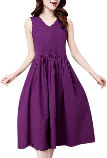 Iuhan Halter Neck Sundress for Womens Vintage Sleeveless Bridesmaid Dress Knee Length Wedding Party Dress
