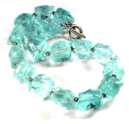 (Ny6design Large Aqua Quartz Nugget Beads Silver Tone Toggle Necklace 19