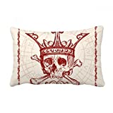 DIYthinker Hearts Spade Red Crown Skeleton Poker Card Throw Lumbar Pillow Insert Cushion Cover Home Sofa Decor Gift