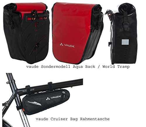 vaude Aqua Back SINGLE Radtasche Sondermodell (1 Stück) - Farbe red/black + vaude Rahmentasche SE Cruiser Bag