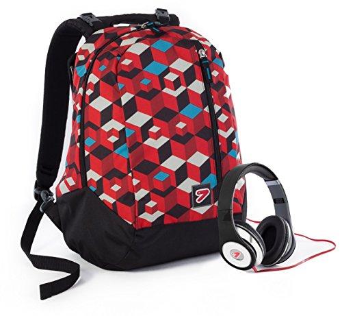 5986da99ca Zaino SEVEN – THE DOUBLE CRUNK – Rosso – cuffie stereo con grafica ...